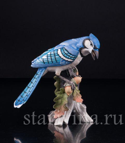 Фарфоровая статуэтка птицы Голубая сойка производства Kaiser, Германия