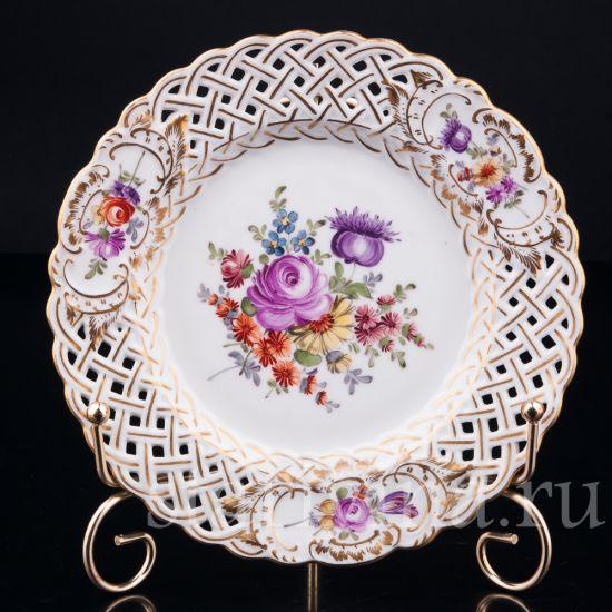 Антикварная старинная фарфоровая декоративная тарелка производства Дрезден, Германия
