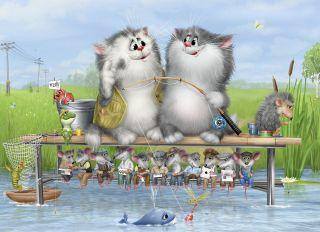 Почтовая открытка На рыбалке
