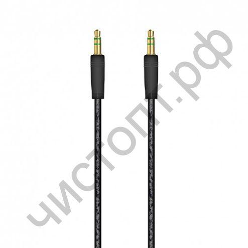 Кабель(3.5) папа-папа 3.5 stereo plug на 3.5 stereo plug OXION 1м, прозрачн. изоляция чёрный (OX-AUX005BK)