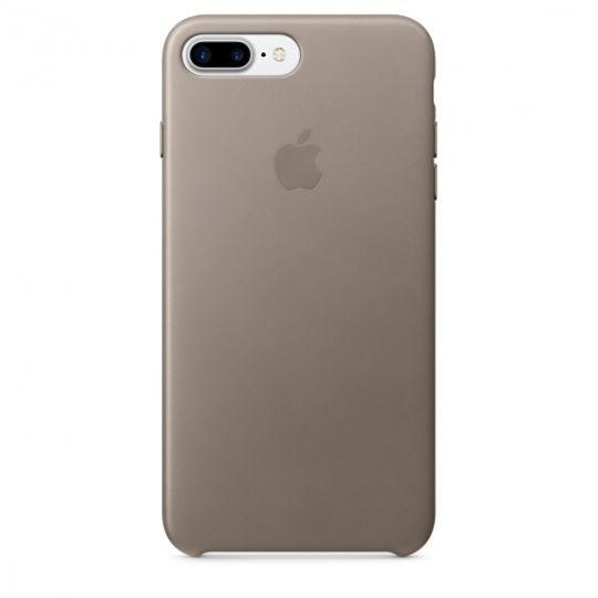 Apple Leather Case для iPhone 7+/8+ (Платиново-серый)