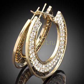 Стильные позолоченные серьги-кольца с кристаллами Сваровски