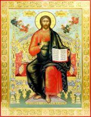 Спас на престоле (рукописная икона с резьбой)