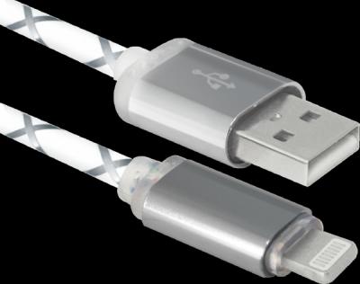 USB кабель ACH03-03LT cерый, LED, USB-Lightning, 1м