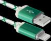 Распродажа!!! USB кабель ACH03-03LT зеленый, LED, USB-Lightning 1м