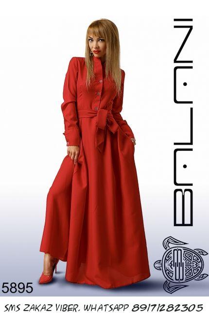 Платье длинное закрытое из габардина