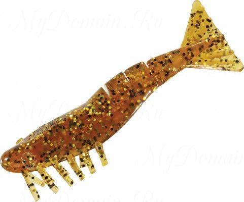 Креветки MISTER TWISTER Exude Shrimp 7 см. уп. 15 шт. 11GBK (съедобная, коричнево-золотистый с черными блестками) NEW