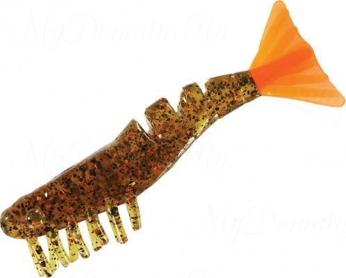 Креветки MISTER TWISTER Exude Shrimp 7 см. уп. 15 шт. 11OBS8 (съедобная, прозрачный, черными и коричневыми блестками с коричневым хвостом) NEW