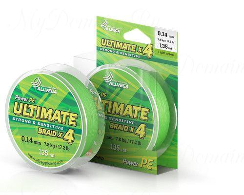 "Шнур плетёный ALLVEGA ""Ultimate"" 135м светло-зелёный 0,10мм (5,1кг)"