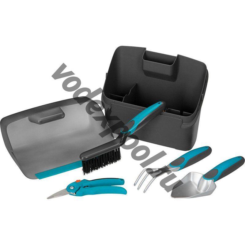 Комлект садовых инструментов для балкона  (секатор, лопатка цветочная, мотыжка, щетка и совок, ящик для хранения)