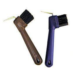 Металлический копытный крючок с  щеткой и пластиковой ручкой