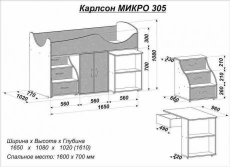 Кровать-чердак Карлсон МИКРО-305
