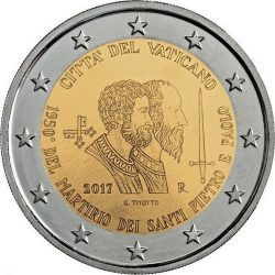 1950 лет смерти апостолов Петра и Павла 2 евро Ватикан 2017