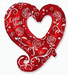 Шар (32''/81 см) Фигура, Сердце с розами, Красный