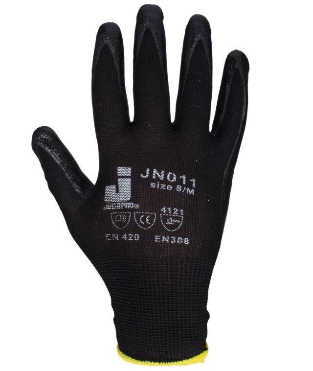 Jeta Защитные промышленные перчатки с нитриловым покрытием.Размеры: 8/M, 9/L, 10/XL. Цвет - черный