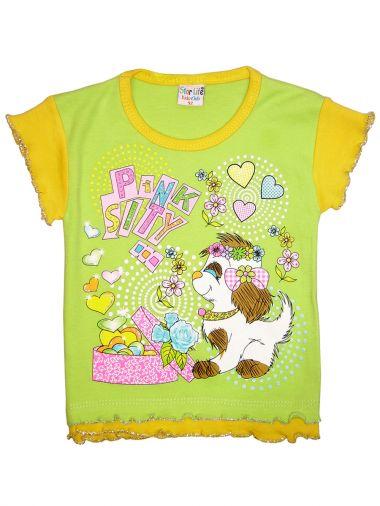 Яркая хлопковая футболка салатового цвета