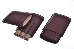 Чехол P&A на 3 сигары Корона, натуральная кожа