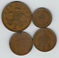 Набор монет Великобритания 1971-1996 г. 4 шт.