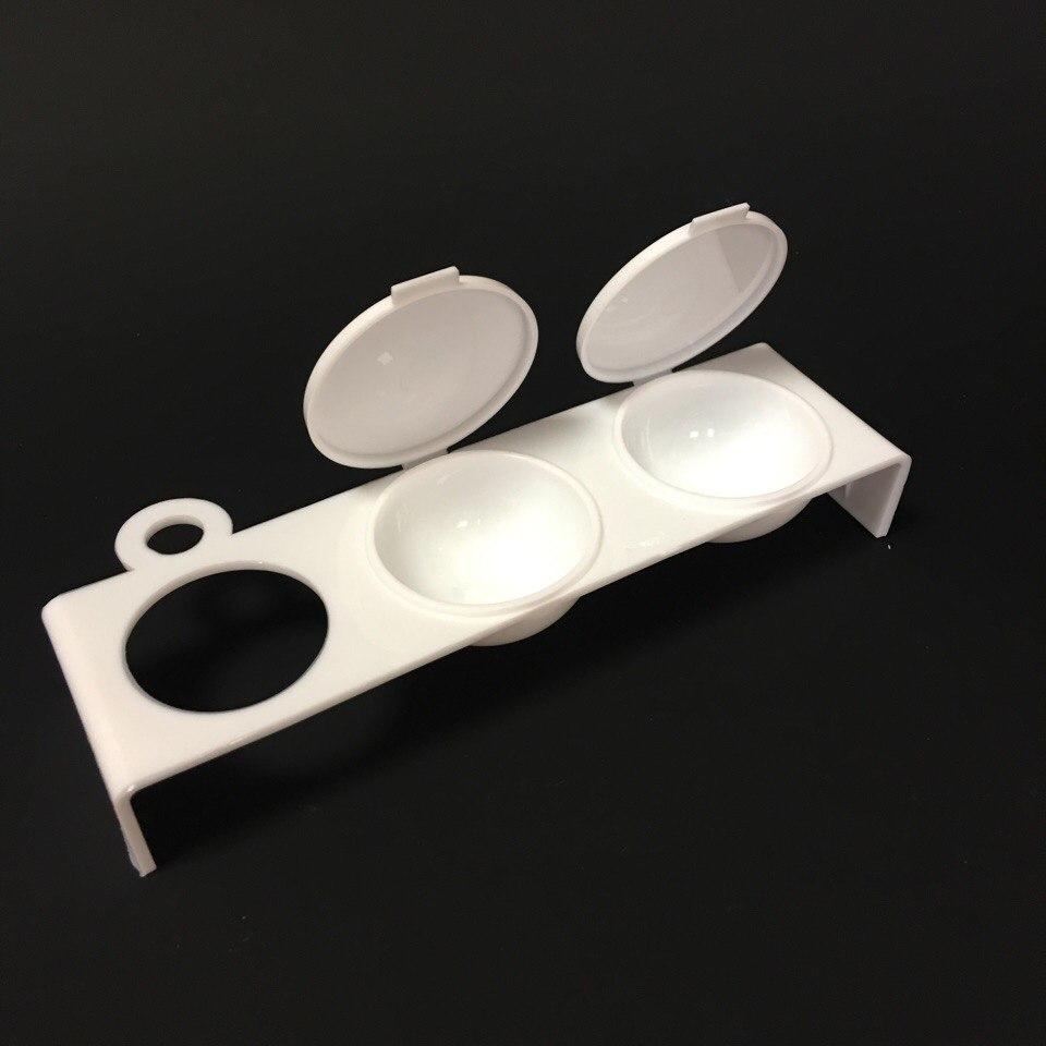 Контейнер двойной пластиковый с отверстием (белый)