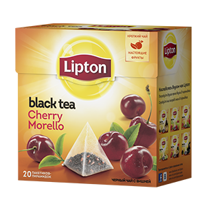 Чай Липтон черный Черри Морелло Байховый аромат с кусочками вишни (пирамидки) 2г 20пак.