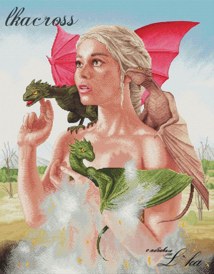 """The mother of dragons"". Digital cross stitch pattern."