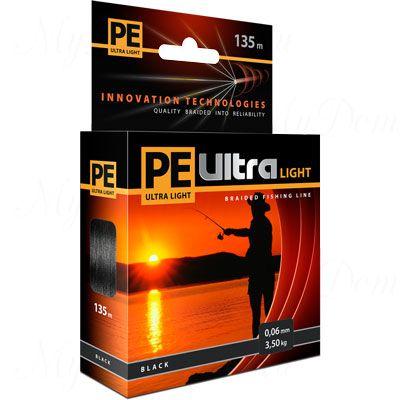 Плетеный шнур AQUA PE ULTRA Light  135m black, 0.12mm