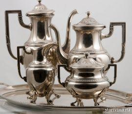 Набор для чая и кофе, фабрика WMF, Германия, 1910-18 гг, Модерн.