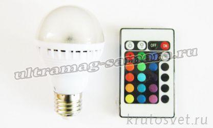 RGB лампа 7W,E27 с пультом