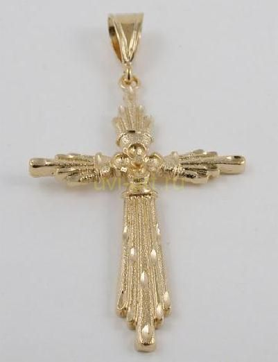 Крупный дизайнерский позолоченный мужской крест для широкой цепочки