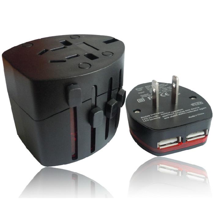 Универсальный переходник для розеток с USB (черный)