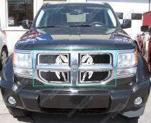 Решетка радиатора, с эмблемой Dodge на черной сетке, нерж. сталь, а/м 2007-2011