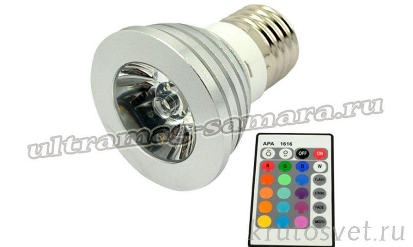 RGB лампа 3W,E27 с пультом