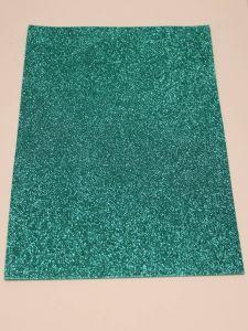 """Фоамиран """"глиттерный"""" Китай, толщина 2 мм, размер 20x30 см, цвет бирюзовый (1 уп = 10 листов)"""