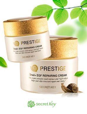 Корейский восстанавливающий крем с муцином улитки от старения Secret KeyСК Prestige Snail + EGF Repairing Cream