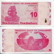 Зимбабве 10 долларов 2009 UNC ПРЕСС