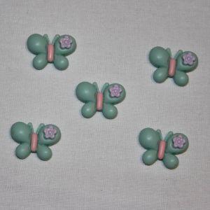 "Кабошон ""Бабочка"", пластик, 23х22 мм, цвет - зеленый (1уп = 50шт)"