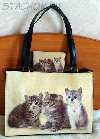 """Сумка и портмоне для девочки или молодой девушки """"Котята"""""""