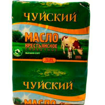 Масло сладко-сливочное крестьянское Чуйский 72,5% 180г