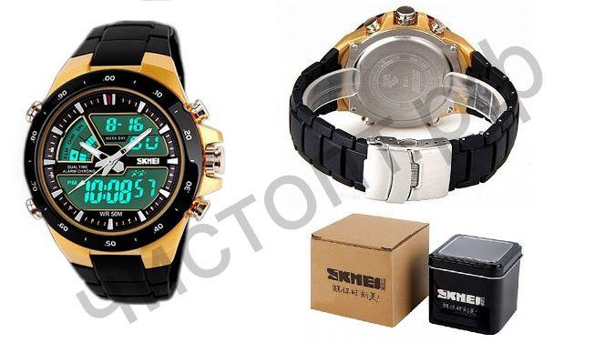 Часы наручные Skmei 1016 двойное время ,подсветка ,таймер , будильник Высокое качество Водонепроницаемые !