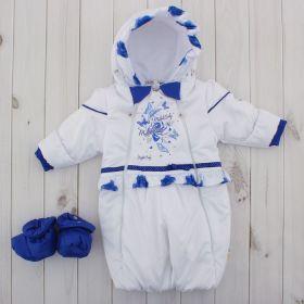 Трансформер для девочки, рост 62 см, цвет белый, принт синие розы 109п_М