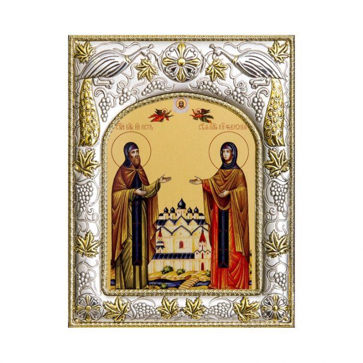 Серебряная икона именная Петр и Феврония Муромские (14*18см., гальванопластика, Россия-Италия)