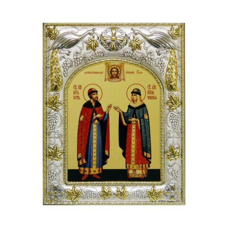 Икона именная Петр и Феврония Муромские (14*18см., гальванопластика, Россия-Италия)