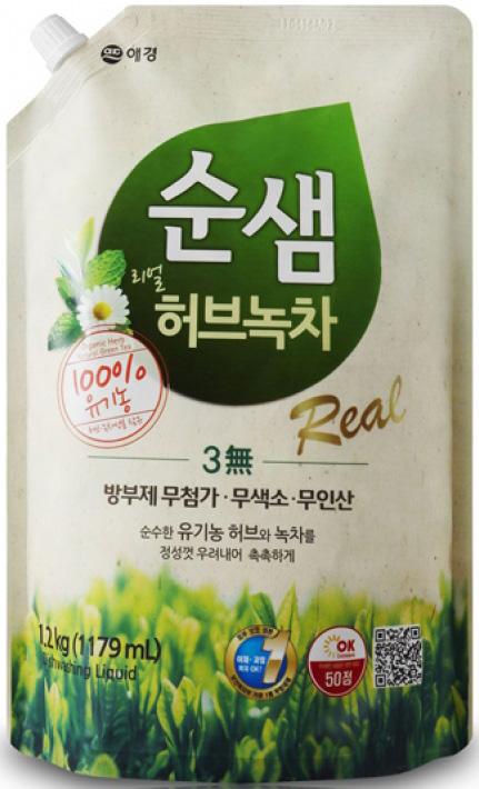 KeraSys Средство для мытья посуды Сунсэм Зелёный чай запасной блок 1200 мл