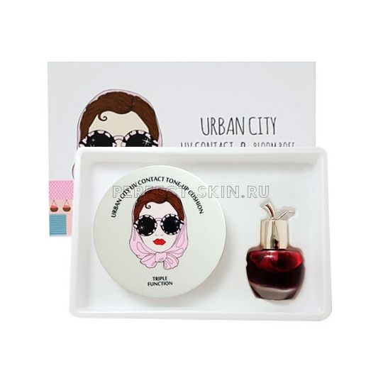 Baviphat Urban City UV Contact Tone-up Cushion SPF50+ PA+++ (Bloom Rose Lip&Cheek #Red Piano Rose)