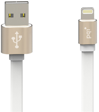 Кабель c Lightning 100см PQI  i-Cable Mesh на USB  золотой устойчив к изгибанию