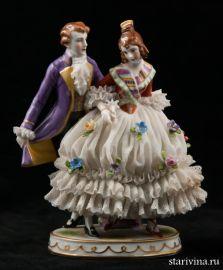 Кавалер и дама в кружевном платье, Muller & Co, Volkstedt, Германия, 1907-52 гг