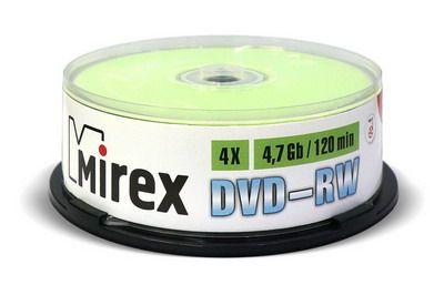 DVD-RW Mirex 4,7 Гб 4X Cake box 25