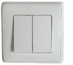 Выключатель двухклавишный Legrand Cariva белый (арт773658)