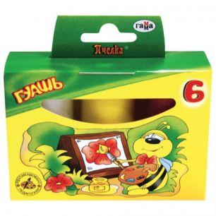 "Гуашь ГАММА ""Пчелка"", 6 цветов по 20 мл, без кисти, картонная упаковка, 221014"