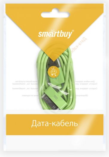 Шнур iPhone 4 - USB Smartbuy (зеленый)